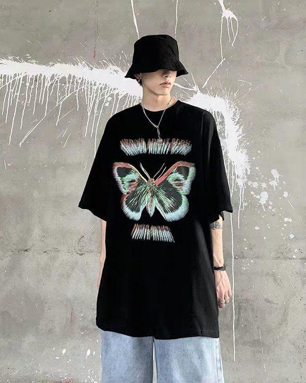 《2色》バタフライモーションブラーTシャツの画像4